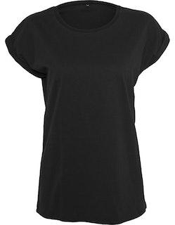 Ladies` Extended Shoulder Tee - Svart