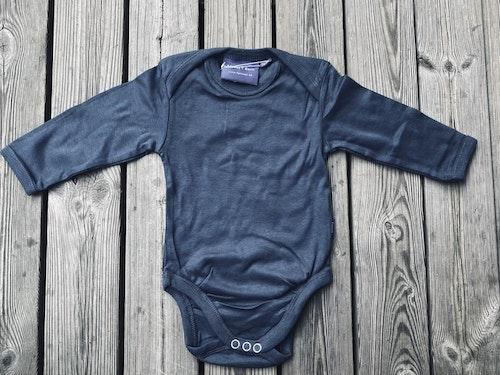 Baby body - långärm - Gråblå 50/56
