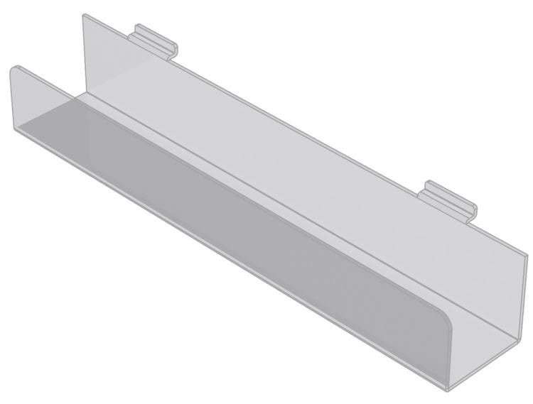 Hylla med framkant i akryl till spårpanel EA204
