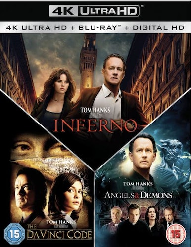 Inferno + Änglar & demoner + The Da Vinci koden box 4K + bluray (import med svensk text)