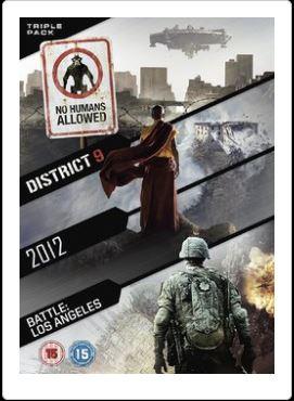 District 9 + 2012 + Battle - Los Angeles (import DVD box med tre filmer)