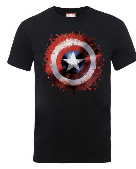 Marvel Avengers Assemble Captain America Art Shield Badge T-Shirt - svart