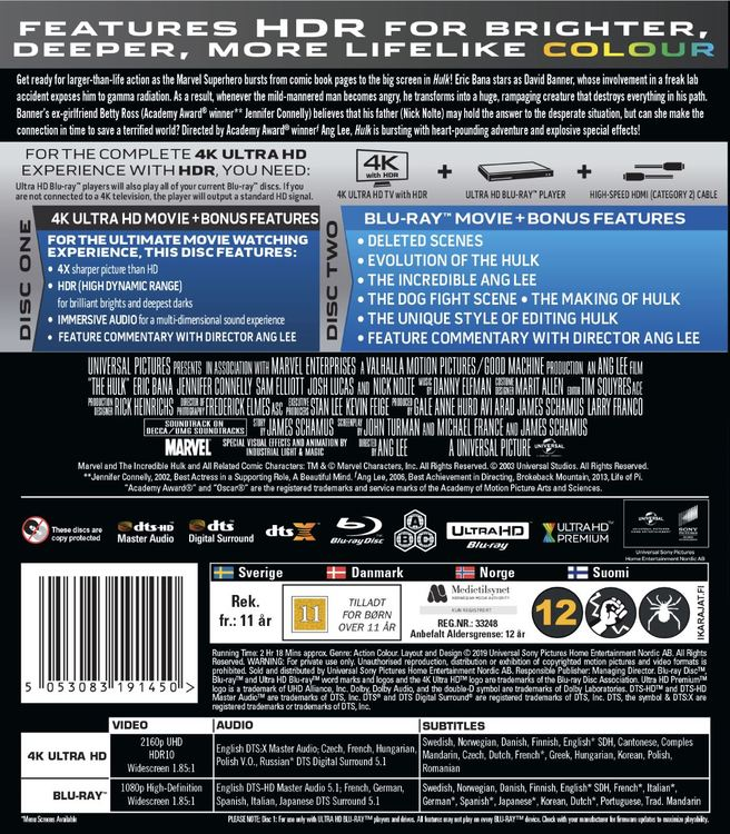 Hulken 4K UHD bluray 2003