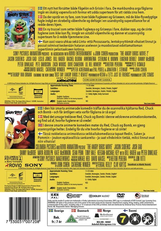 ANGRY BIRDS MOVIE 1+2 BOX DVD