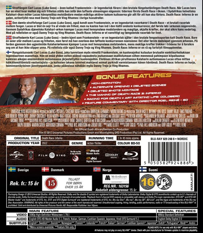 Death Race 3 - Inferno bluray