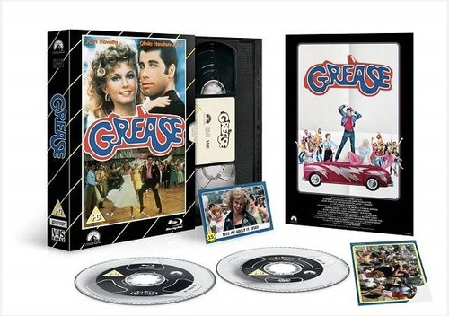 Grease - Limited Edition VHS Collection DVD + Bluray specialutgåva (import med svensk text)
