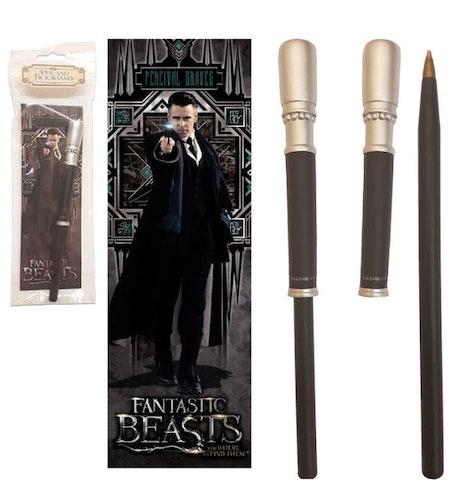 Fantastic Beasts Percival Graves trollstav penna och bokmärke