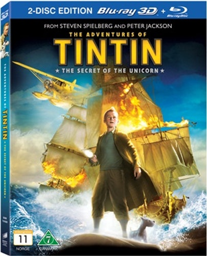Tintins äventyr: Enhörningens hemlighet (3D) bluray