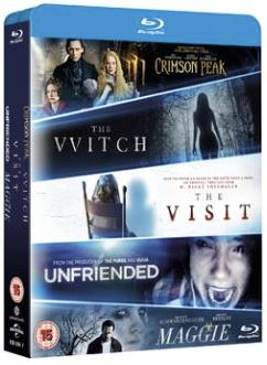The Witch + Crimson Peak + Maggie + The Visit + Unfriended box bluray import Sv text
