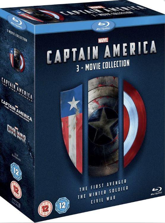 Captain America - The First Avenger + Captain America - The Winter Soldier + Captain America - Civil bluray (import Sv text)