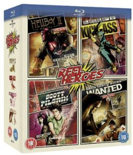Wanted + Kickass + Scott Pilgrim vs The World + Hellboy 2 Bluraybox (import med svensk text)