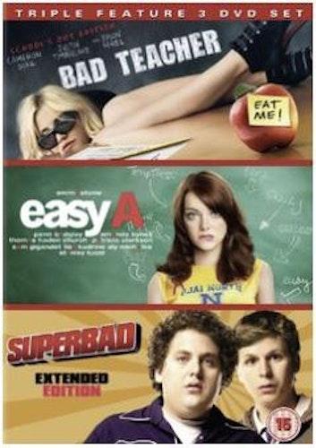 Bad Teacher + Easy A + Superbad box DVD (import med svensk text)