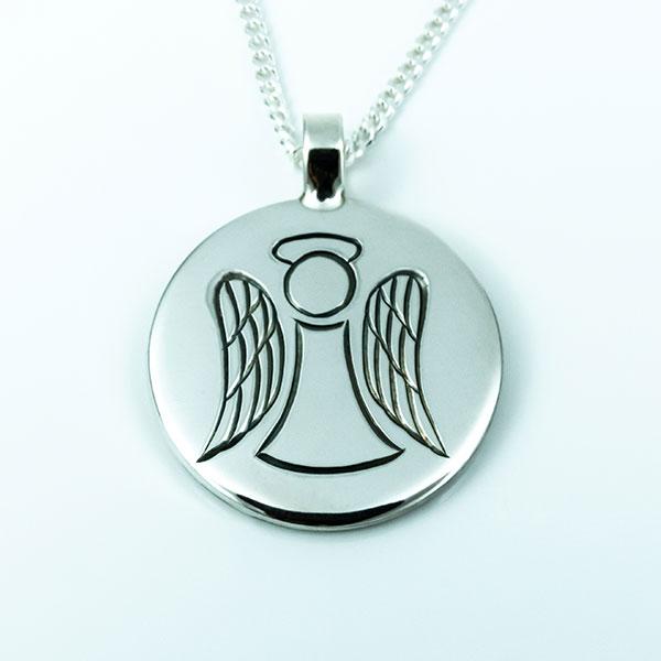 Handgraverat ängel hänge i silver