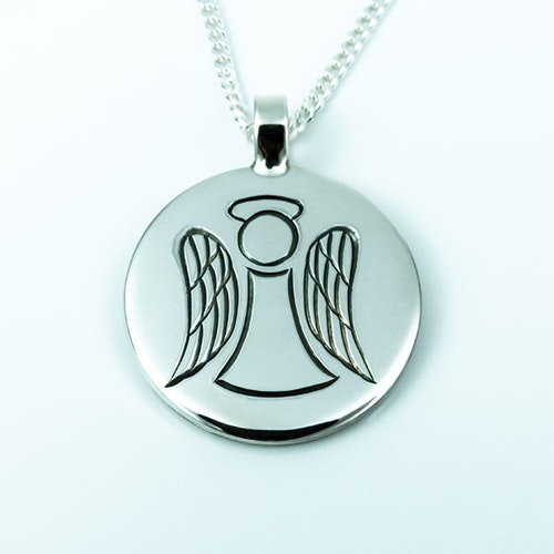 Hand-engraved angel pendent in silver