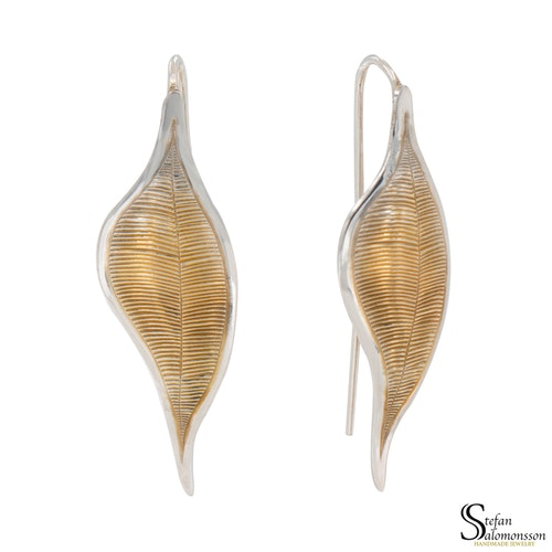 Silver leaf earrings with gold-plating