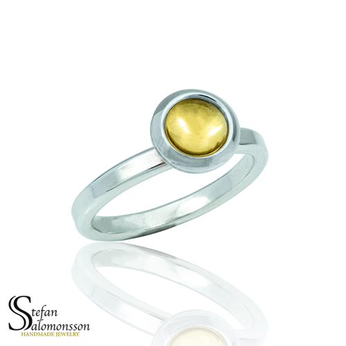Silver ring with gold plating