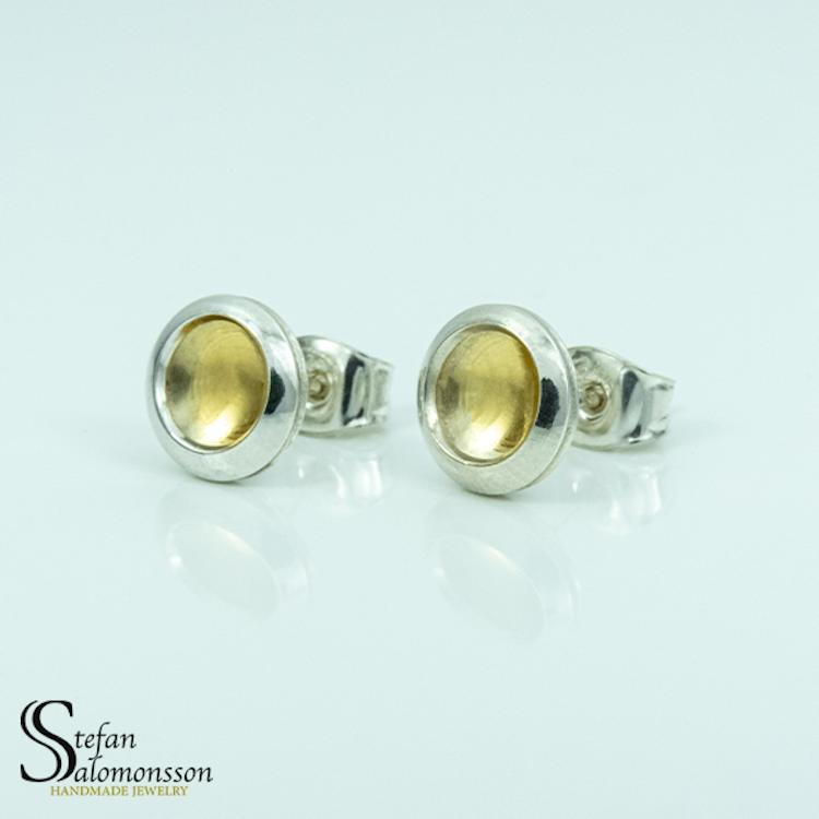 Silver örhängen med guldplätering - 9mm ø