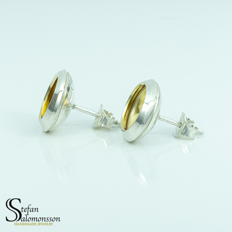 Silver örhängen med guldplätering - 13mm ø