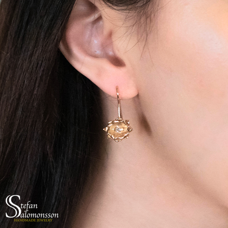 Gold lotus earrings with diamonds