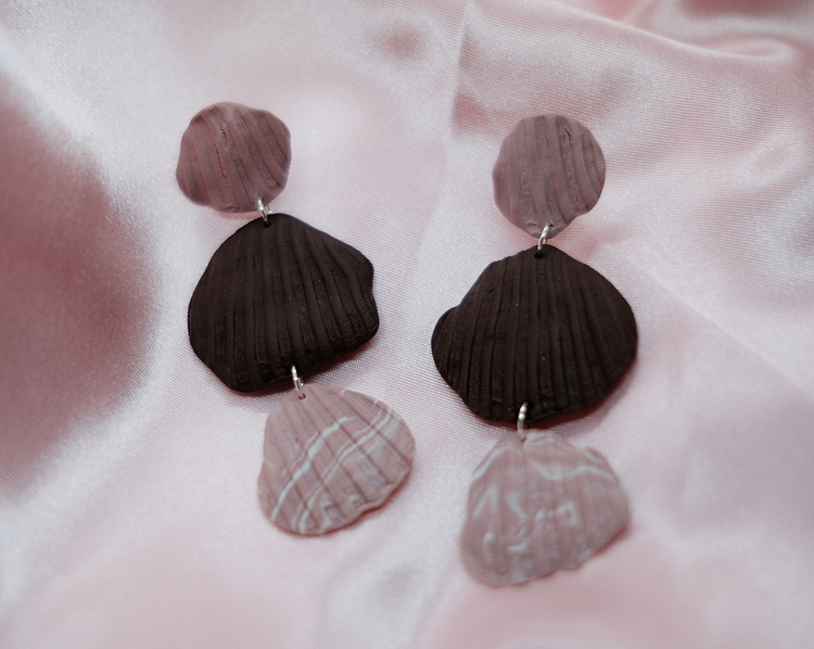 SHELL TRIO STUD • PINK/CHOCOLATE