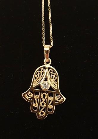 Fatimas hand halsband  18 k guldplätering