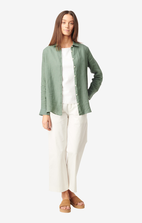 Boomerang - Lina Linen Shirt Venetian Green