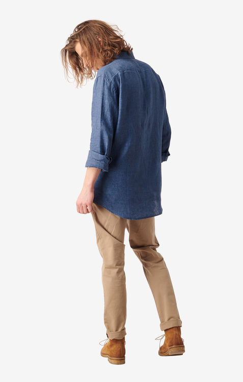 Boomerang - Linus Linen Shirt Blue Nights