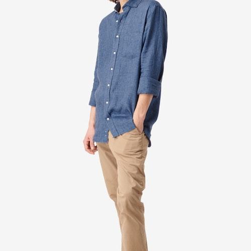 Boomerang - Linus Linen Shirt Blue Nights