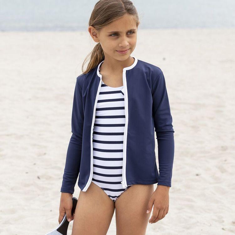 Petit Crabe - Etoile Zipper Swim Shirt L/S, Blue