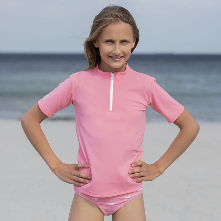 Petit Crabe - Max Half Zip Swim Shirt S/S, Watermelon