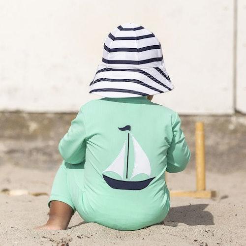 Petit Crabe - Lou Boat Sunsuit L/S, Aqua