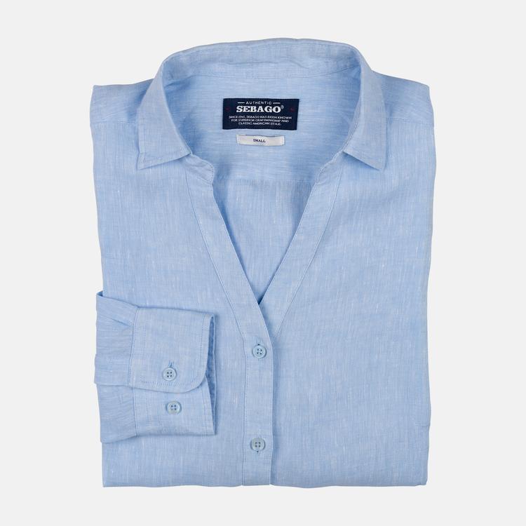 Sebago - Bianca Linen Shirt, Light Blue