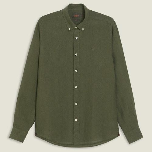 Morris - Douglas Linen Shirt LS, Dk Green