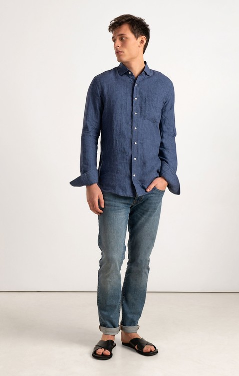 Boomerang - Linus Linen Shirt, Blue Nights