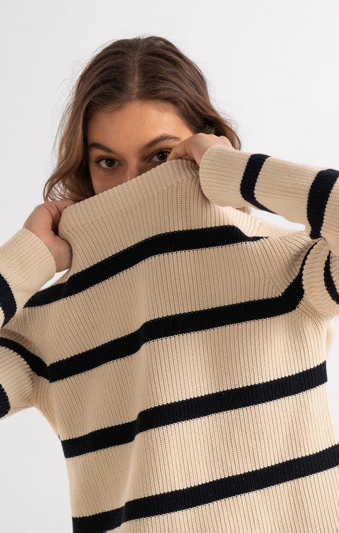 Boomerang - Leonie Org. Cotton Stripe Sweater, Offwhite