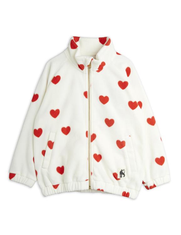 Mini Rodini - Hearts Fleece Jacket, Offwhite