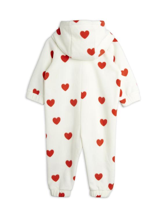 Mini Rodini - Hearts Fleece Onesie, Offwhite