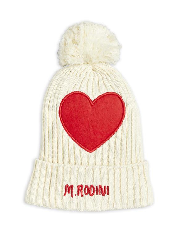 Mini Rodini - Heart Pompom Hat, Offwhite