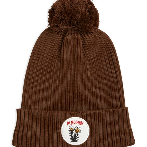 Mini Rodini - Edelweiss Pompom Hat, Brown