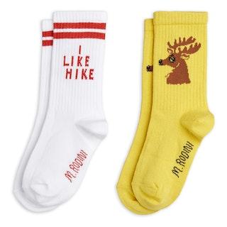 Mini Rodini - Hike + Deer Socks 2-pack, Yellow