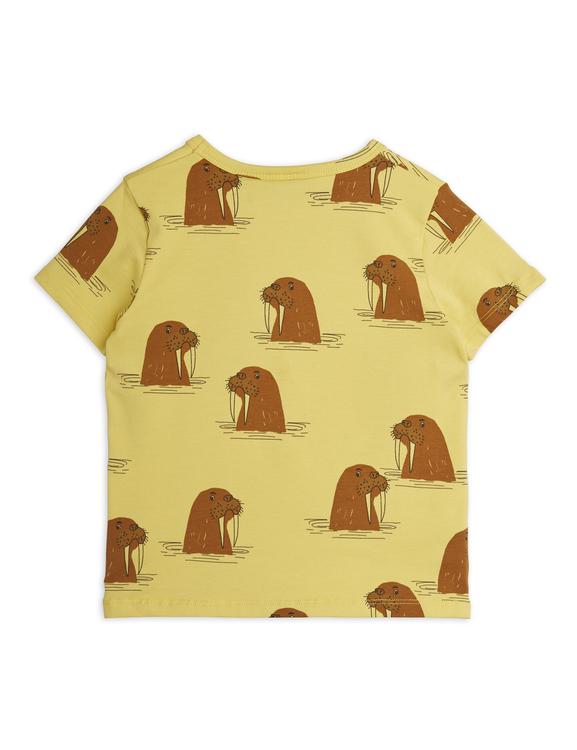 Mini Rodini - Walrus Aop SP SS Tee, Yellow