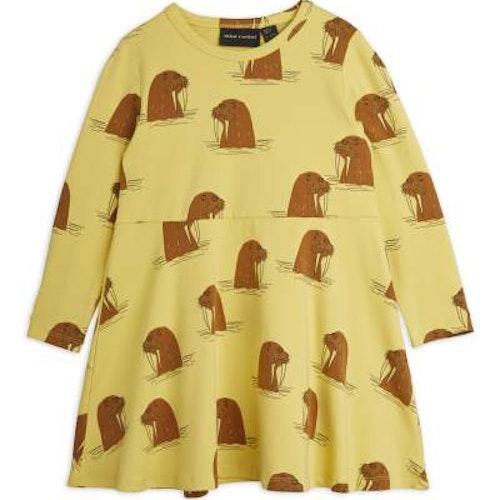 Mini Rodini - Walrus Aop LS Dress, Yellow