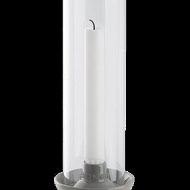 ernst ljusstake med glascylinder grå