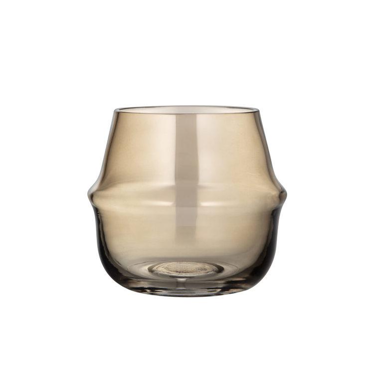 ernst vas/ljuslykta i glas H15cm D16cm rökfärgad