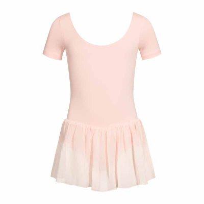 Dansdräkt med kjol, kortärmad - Balettrosa