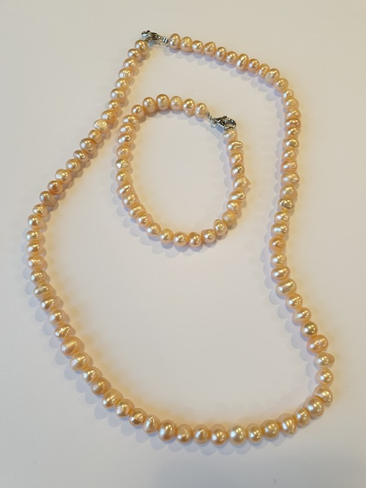Pärlor - Set med Halsband & Armband - Rosa