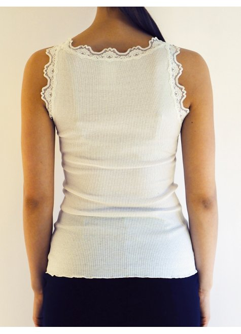 Rosemunde - Lace top in silk - New White