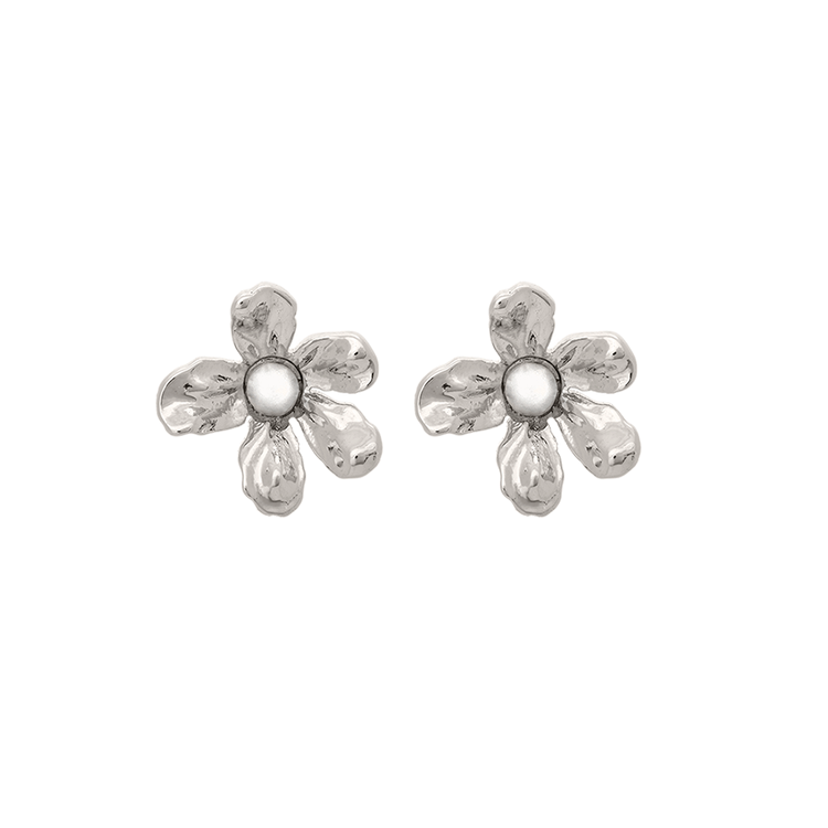 Eponine petite earrings - ivory pearl (Silver)