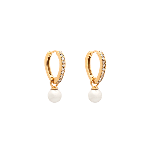Lily and Rose - Petite kennedy hoops earrings - ivory pearl (Silver)