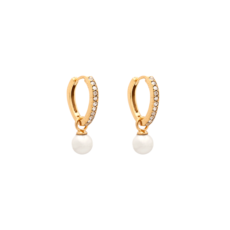 Petite kennedy hoops earrings - ivory pearl (Silver)